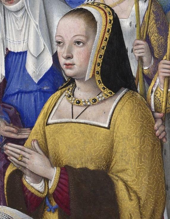 """Anne de Bretagne, par Jean Bourdichon (détail d'une miniature des """"Grandes Heures d'Anne de Bretagne""""), XVIe siècle"""