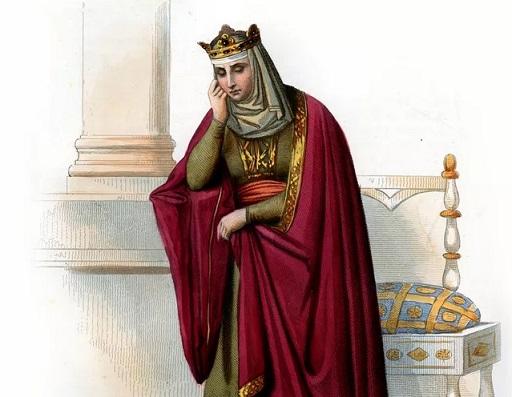 Gravure colorisée représentant la reine Brunehaut