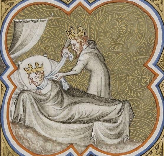 """""""Chilpéric Ier étrangle Galswinthe"""", tiré des Grandes Chroniques de France (1375-1380)"""