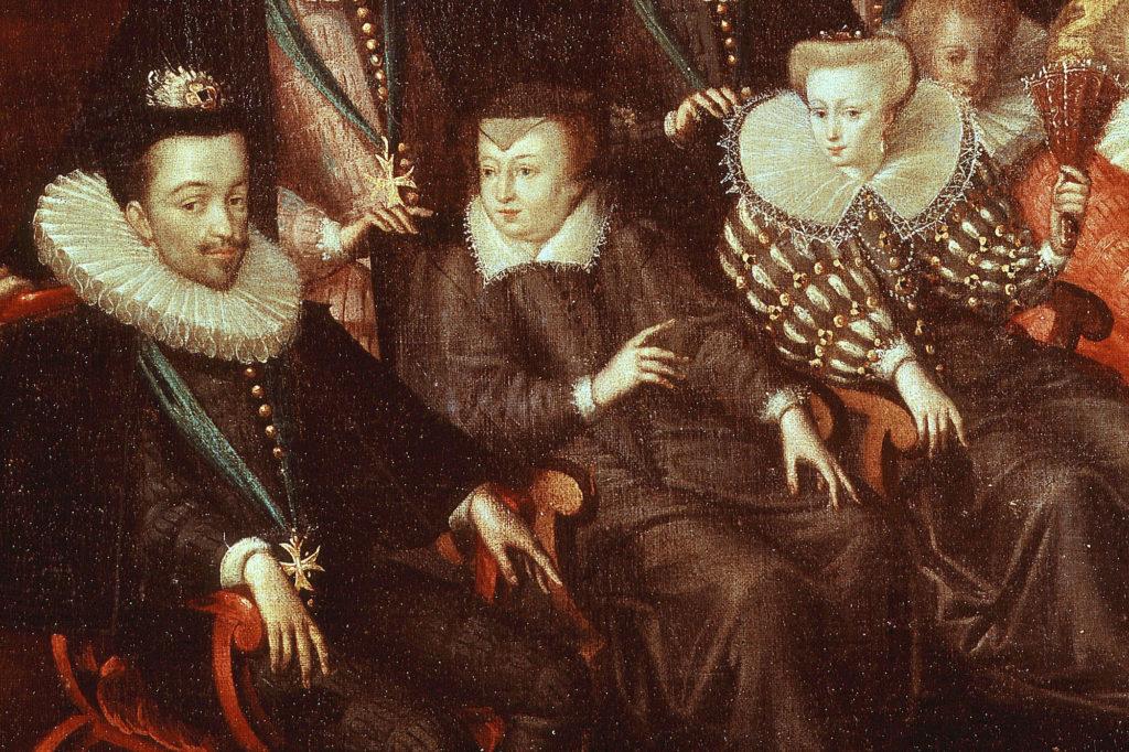 Henri III, Catherine de Médicis et Louise de Lorraine (détail du tableaureprésentant le mariage du duc de Joyeuse), par l'Ecole française, XVIe siècle
