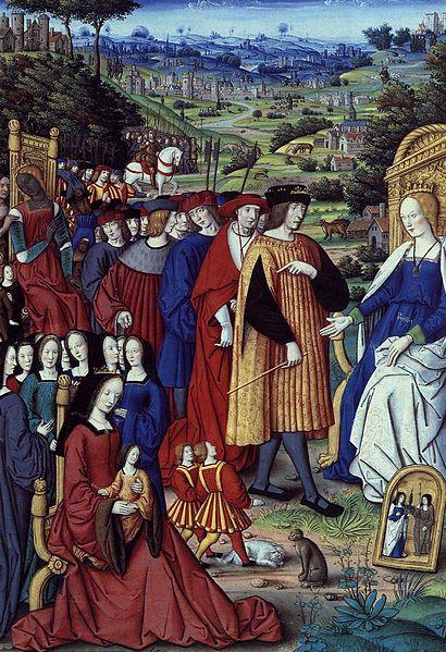 """Enluminure """"Louis XII et sa cour s'adressant à la Raison"""" (1503)"""