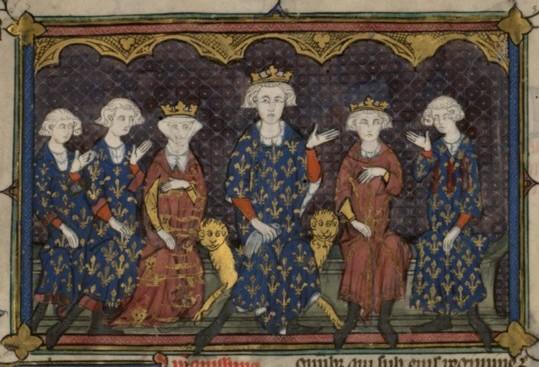 La famille de Philippe IV (XIVe siècle). De gauche à droite : Charles IV, Philippe V, Isabelle, Philippe IV (sur le trône), Louis X et Charles de Valois (père de Philippe VI)