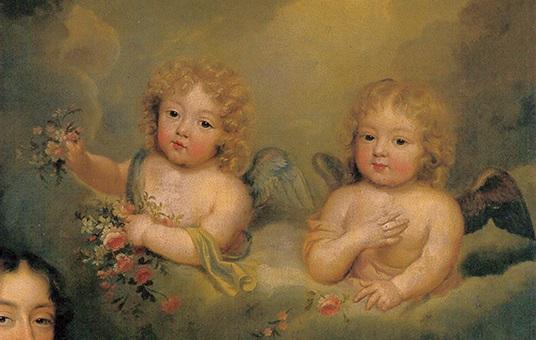 Détail du tableau de Mignard, représentant deux angelots (enfants de Mme de Montespan  morts en bas âge ?)