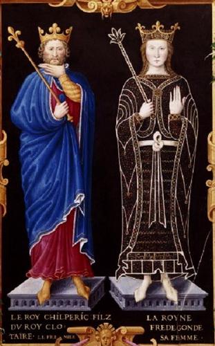 """Chilpéric Ier et Frédégonde (manuscrit """"le Recueil des rois de France"""", XVe siècle)"""
