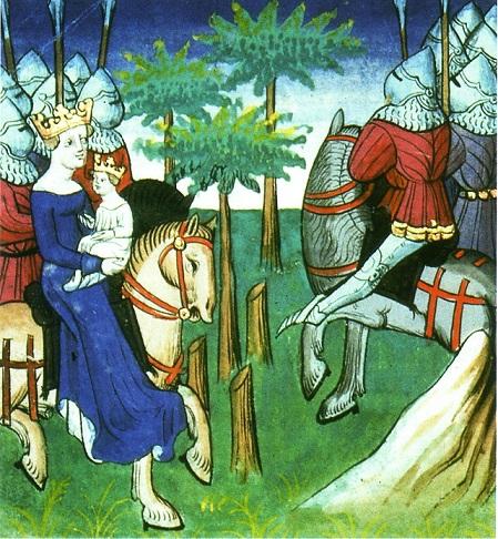 """""""Frédégonde et son fils Clotaire II à la tête de l'armée contre Childebert II"""", tiré des Grandes Chroniques de France"""