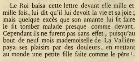 """Libelle sur la naissance d'une fille de Mlle de Vallière (""""Histoires amoureuses des Gaulles"""" 1665)"""