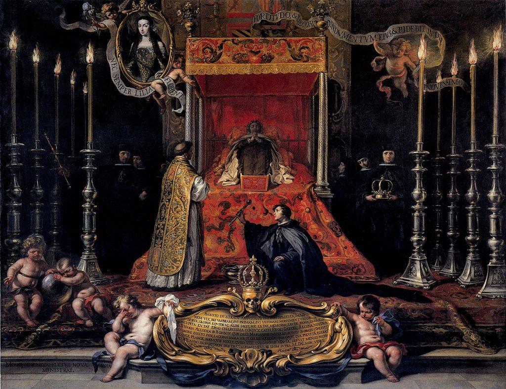 Marie Louise d'Orléans, reine d'Espagne, sur son lit de mort, par Sebastián Muñoz (1689)