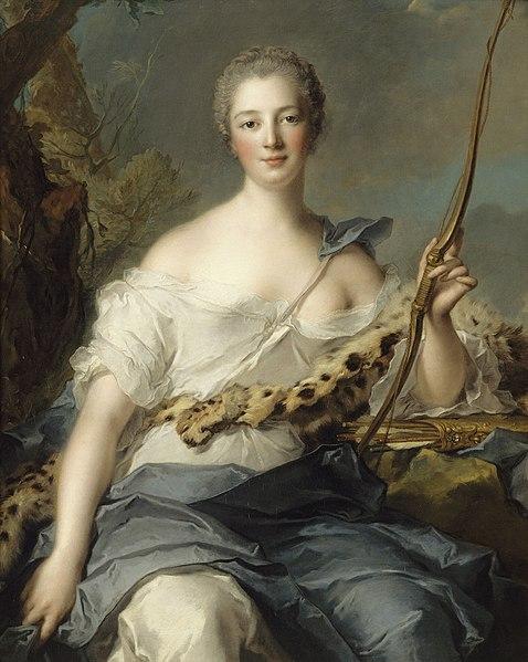 """Jeanne Antoinette """"en Diane"""" par Jean-Marc Nattier (1746)"""