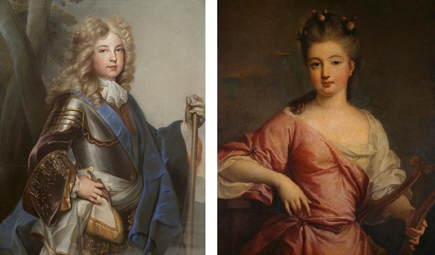 Charles de Bourbon, par Joseph Vivien (vers 1700) et Mademoiselle, par Pierre Gobert (vers 1707)