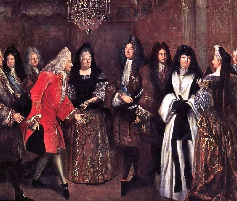 La duchesse de Berry en habits de deuil à droite), par Louis de Silvestre 1714)