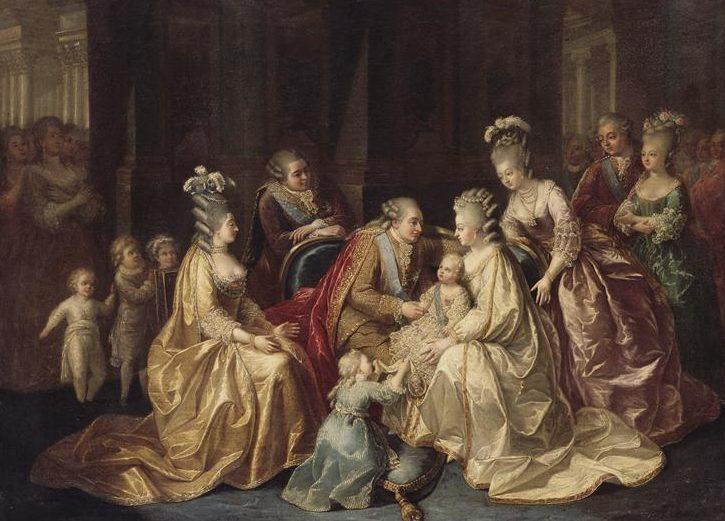 La famille royale réunie autour du dauphin Louis-Joseph (anonyme, vers 1782)