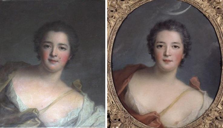 La duchesse de Lauraguais (à gauche) et la marquise de Flavacourt (à droite) par Jean-Marc Nattier (1742 et 1740)
