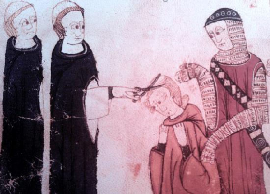 Jugée coupable d'adultère, Marguerite de Bourgogne est tondue (miniature du XIVe siècle)
