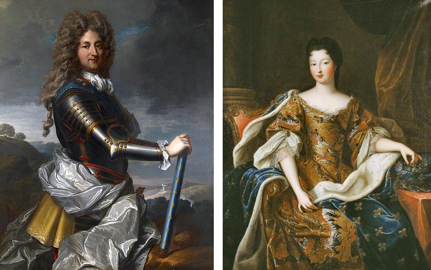 Philippe d'Orléans, par Jean Baptiste Santerre (1717) et Françoise-Marie de Bourbon, par Pierre Gobert (en 1700)