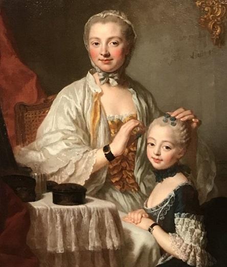 Mme de Pompadour et sa fille, par Pierre Allais (1753)
