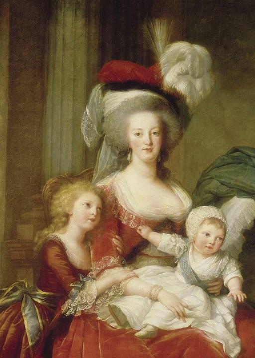 Marie-Antoinette et ses enfants (détail du tableau de Mme Vigée Lebrun) : le duc de Normandie est assis sur les genoux de la reine
