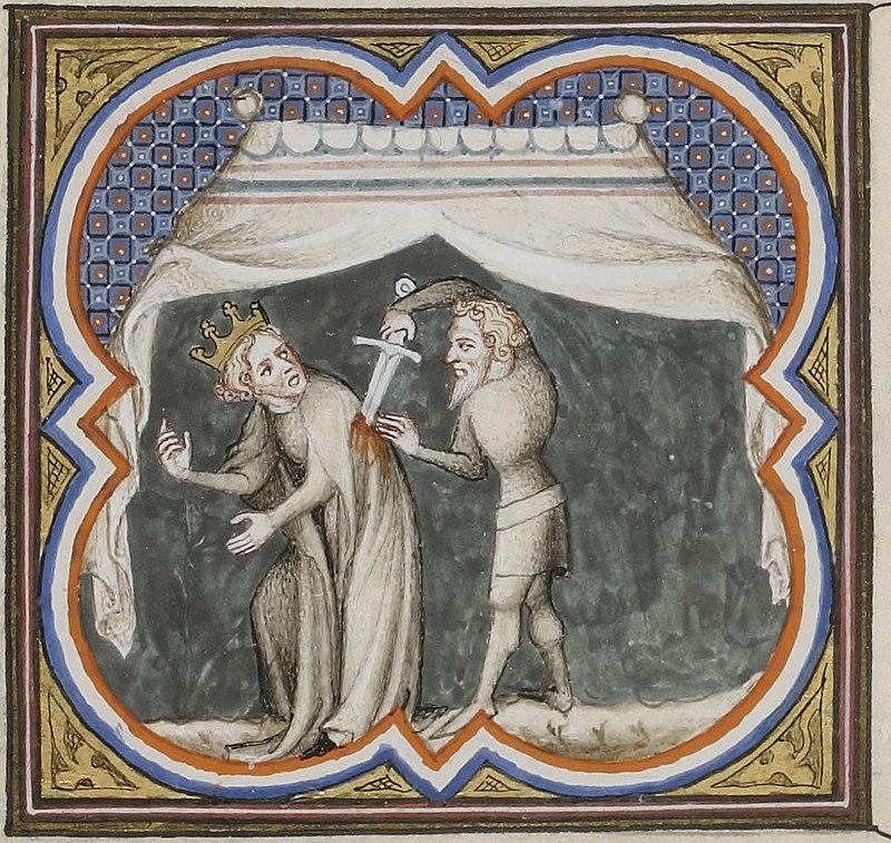 """""""Assassinat de Sigebert Ier"""", tiré des Grandes Chroniques de France (1375-1380)"""