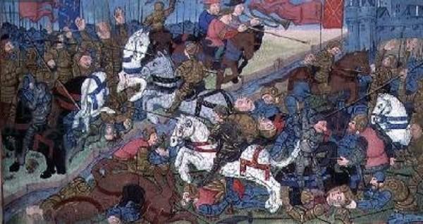 """Affrontement entre Théodebert II et Thierry II, tiré des """"Grandes Chroniques de France"""" (XVe siècle)"""
