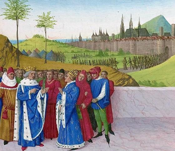 """""""Entretien entre Gontran et Childebert II"""" par Jean Fouquet (vers 1455)"""