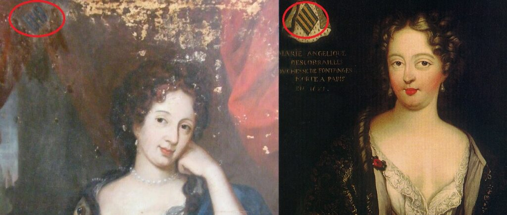 Le blason des Scorailles apparait sur ces deux tableaux, en haut à gauche