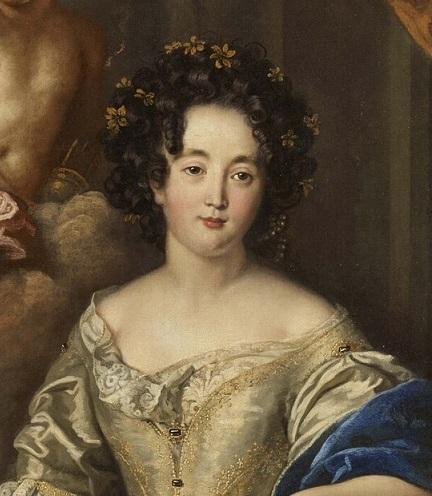 Mme de Montespan, représentée en brune (détail d'un tableau de Charles de La Fosse, 1677)
