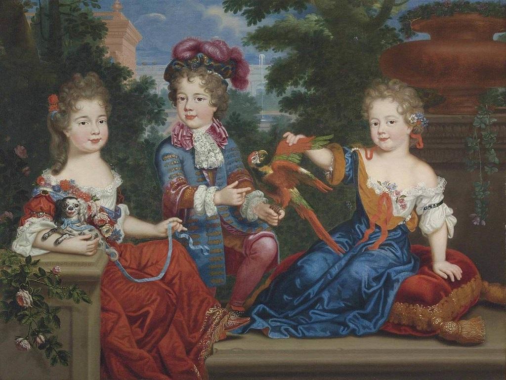 Mlle de Nantes, le duc du Maine et Mlle de Blois, par Philippe Vignon (XVIIe siècle)