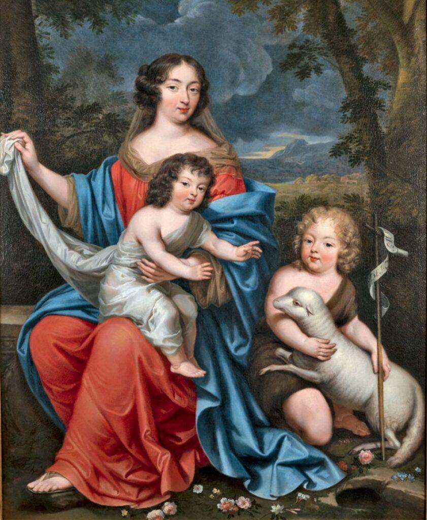 """Mme de Maintenon avec le duc du Maine et le comte de Vexin, en """"Vierge à l'Enfant et Saint Jean-Baptiste"""", attribué à Pierre Mignard"""