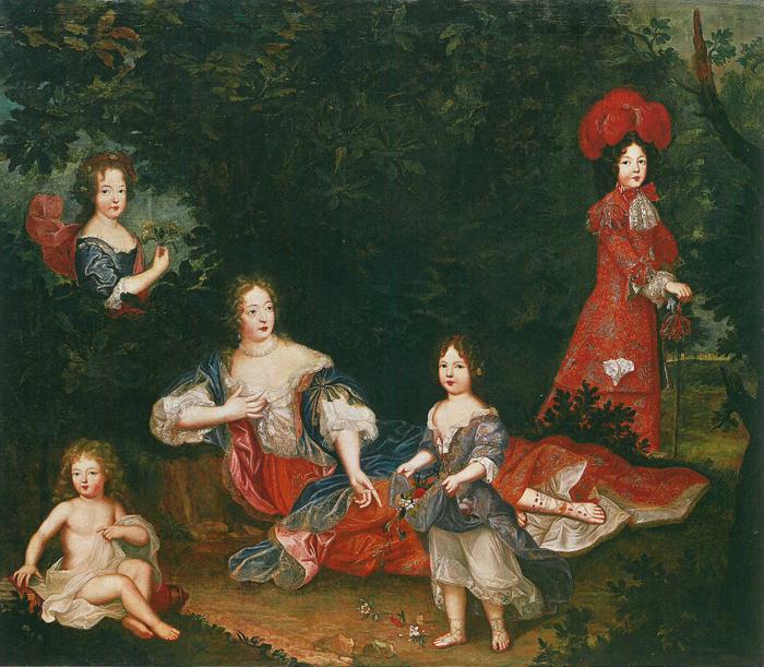 La marquise de Montespan et quatre de ses enfants légitimés (Mlle de Nantes, le comte de Toulouse, Mlle de Blois, le duc du Maine), attribué à Pierre Mignard (XVIIe siècle)
